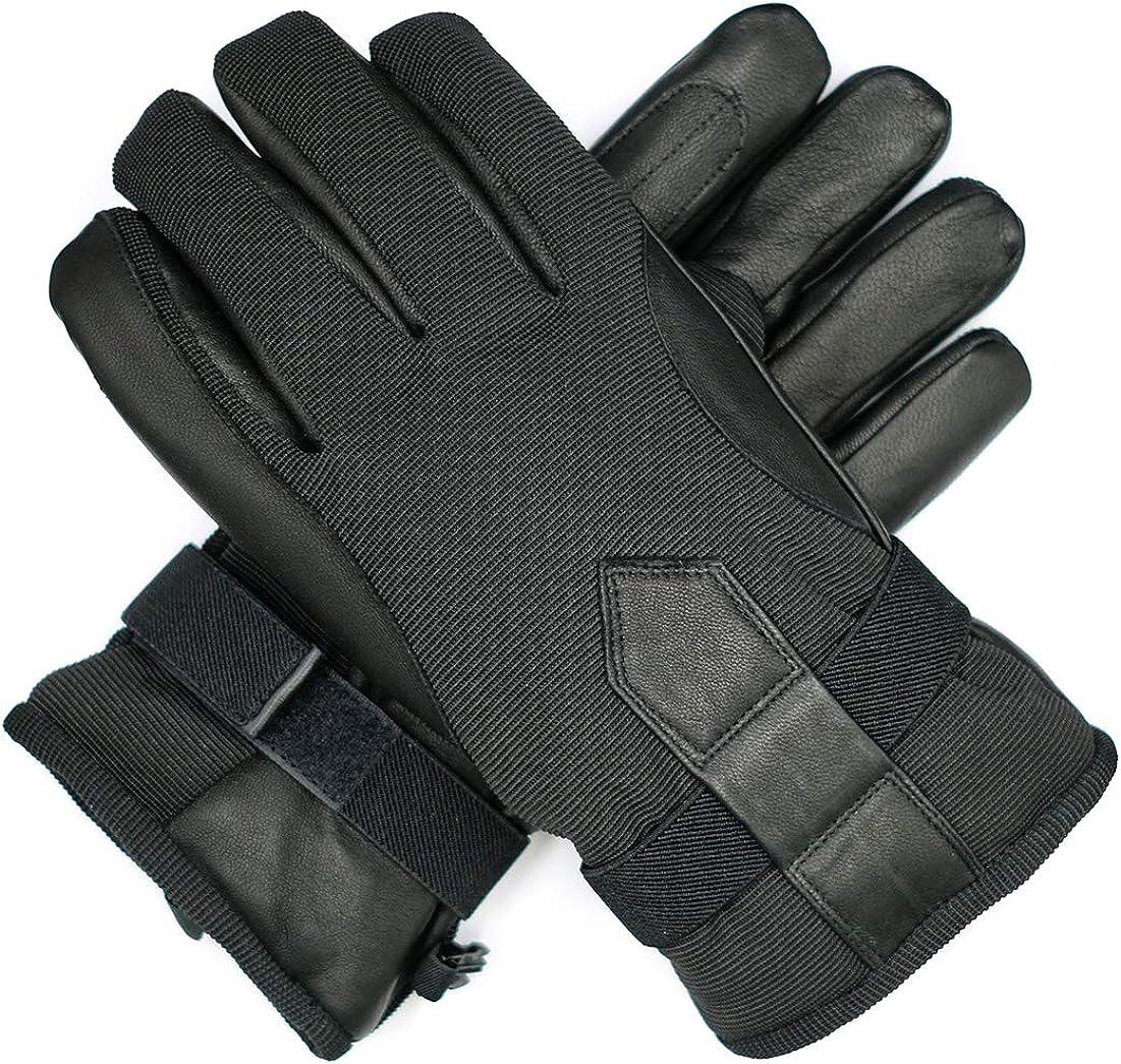 Harssidanzar Waterproof Insulated Leather Outdoor Ski Snowboard Gloves Mittens