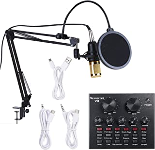 Multifunctional Live Sound Card & BM800 Suspension Microphone Kit Broadcasting Recording Condenser Microphone Set Intellig...