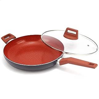 MICHELANGELO 12 Inch Ceramic Frying Pan Nonstick, Ultra Nonstick Frying Pans with Non-toxic Ceramic Coating , Nonstick Skillet with Lid, Ceramic Nonstick Pan 12 Inch, Ceramic Induction Skillet - Red