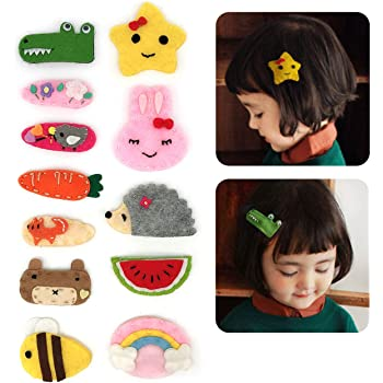 6Pcs Baby Girls Cute Cartoon Fruit Mermaid Hair Clip Snaps Kids Hair Accessories