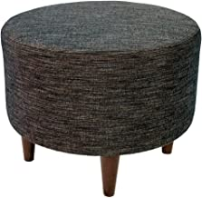 MJL Furniture Designs Sophia Collection Lucky Series Contemporary Round Ottoman, Brown/Black/Wooden Legs