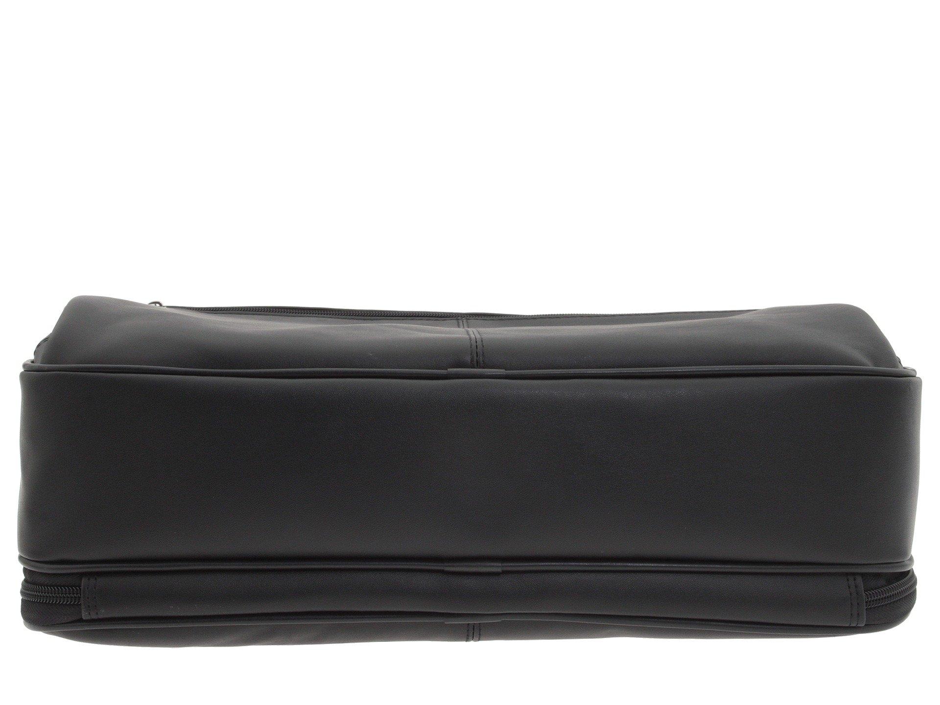Black Computer Nappa Zip Portfolio Top Case
