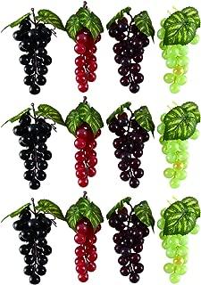 WEFOO 12Bunches Artificial Plastic Fruit Grapes,Simulation Mini Grape Clusters Rubber Fake Grape Bundles Decorative Grapes Hanging Ornaments for Wedding Favor Fruit Wine Décor Faux Fruit Props