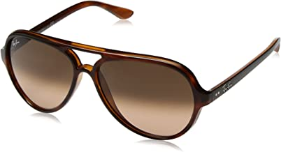 RAY-BAN RB4125 Cats 5000 Aviator Sunglasses, Stripped Havana/Pink Gradient Brown, 59 mm