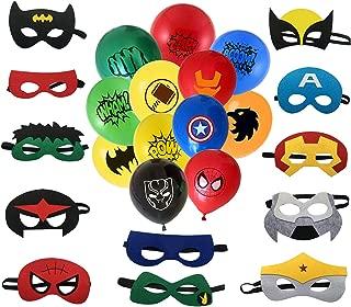MC TTL Superhero Masks, Superhero balloon. 12 Balloons 12 inch, 12 Masks. Party Favors for Kids. Birthday Supplies