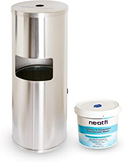 NeatFi Floor Standing Stainless Steel Gym Wipe Dispenser with High Capacity Built-in Trash Can and Easy Back Door Access -...