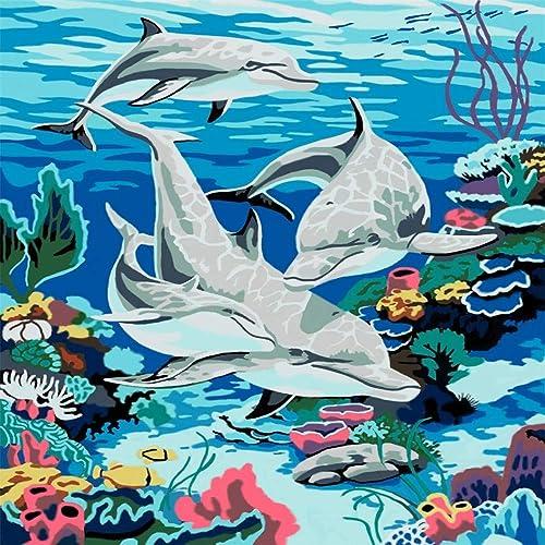 gran descuento HABU Mundo Mundo Mundo Submarino autocompletado, Pintura al óleo Digital, Dolphin sin Marco 40  50Cm Que pintan materias primas  marcas de diseñadores baratos