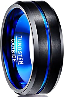NUNCAD Men's 8mm Tungsten Carbide Ring Blue & Black Matte Finish Beveled Edge Wedding Band Size 4 to 17