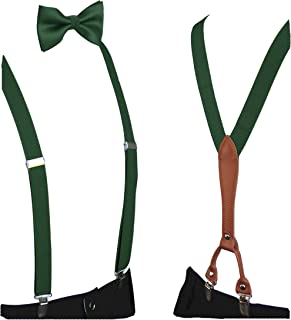 Hunter Green Bow Tie And Suspenders