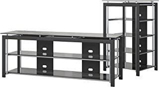 Bush Furniture Midnight Mist TV Stand and Audio Tower in Black
