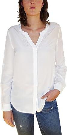 Posh Gear Mujer Blusa de Seda Camicetta 100% Seda