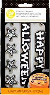 Wilton 710-6434 Halloween Cake Icing Decorations Happy Halloween & 7 Spider Webs