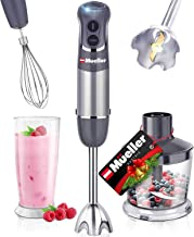 Mueller Austria Hand Blender, Smart Stick 800W, 12 Speed and Turbo Mode, 3-in-1, Titanium Steel Blades, Comfygrip Handle, ...