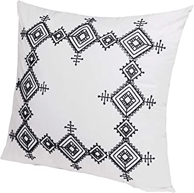 Flber Geo Embroidered Euro Sham Set Cotton Oversized Pillow Covers,26in x26in,Set of 2