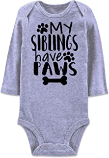 Baby Boys Girls Long Sleeve Rompers Bodysuit Funny Slogan Cotton Jumpsuit 0-12 Months