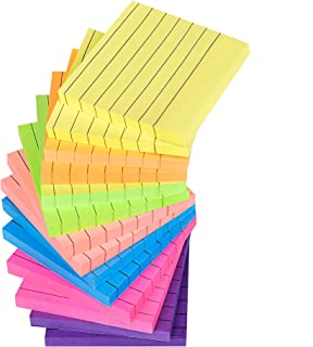 Epicmill Sticky Notes Lined 3x3 inches, Colorful Self-Stick Notes Post for Doors, Whiteboard, Windows, Office, 80 Sheets/Pad, 14 Pads