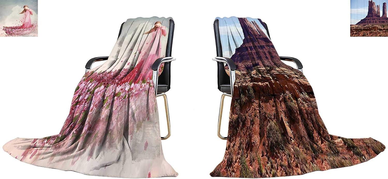 YOYI-home Warm Microfiber All Season Blanket Girl in Boat of Flowers Print Image Thicken Blanket 70 x60 (Double Side)