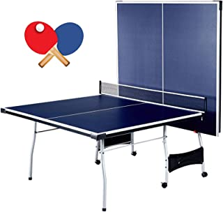 Schmidt Foldable 4 Piece Table Tennis Ping Pong Play | Official Tournament Size 9' x 5' | With Net Posts Paddles 2 Ball | Quick Setup Heavy Duty Sturdy Durable | Playback Mode Suit Indoor Outdoor Home