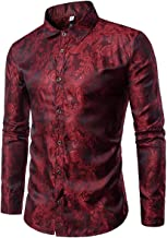 Cloudstyle Mens Paisley Shirt Long Sleeve Dress Shirt Button Down Casual Slim Fit