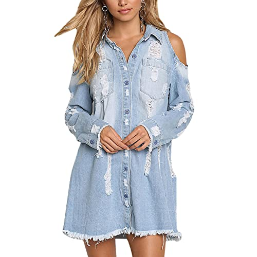 f0c50b0dca9 Meilidress Womens Cold Shoulder Distressed Demin Shirt Dresses Button Down  Long Sleeve Frayed Jeans Jacket