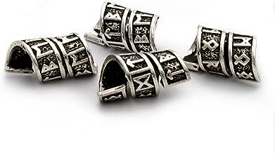 Viking Rune Beard Bead Coil Set (4) - Norse Rings for Hair, Dreads & Beards