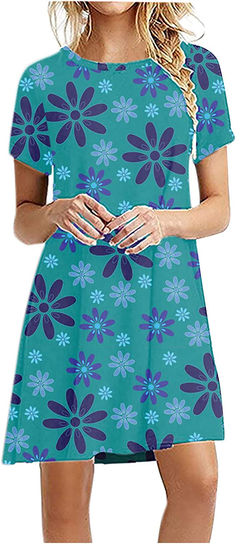 Jinjin2 Summer Tshirt Dress for Women, Beach Dress Short Sleeve Crew Neck Print Loose Fit Casual Minidress