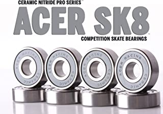608 Ceramic Skate Bearings 8 piece 8x22x7mm Si3N4 by ACER Racing