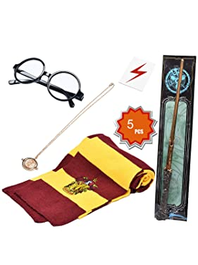 KESOCORAY Cosplay Costume Props Accessories Gifts for Harry Birthday Party Magic Wand Eyeglass Frame Knit Scarf Necklace Set-A