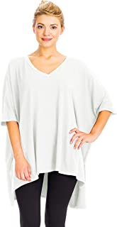 NANAVA Women's Oversized Loose Fit V-Neck Center Band Detail Poncho Top