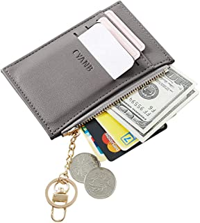 Cyanb Slim Minimalist Soft leather Card Holder Front Pocket Wallets for Women Girls with Key chain