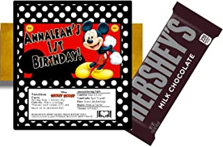 10 MICKEY MOUSE BIRTHDAY HERSHEY BAR WRAPPERS PARTY FAVORS PERSONALIZED w/FOILS