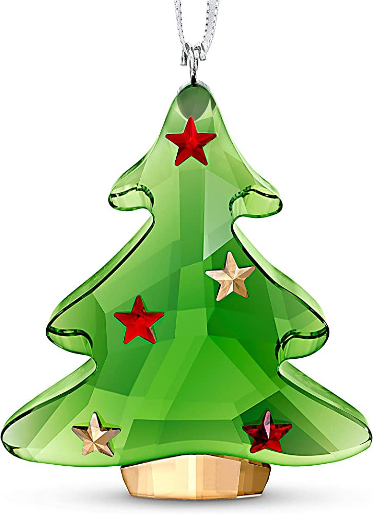 Swarovski ornamento per albero di natale  verde, decorato con cristalli scintillanti a forma di stella 5544526