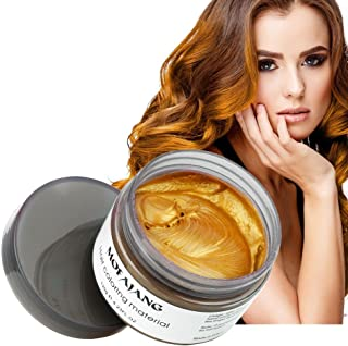 MOFAJANG Hair Color Wax Styling Cream Mud, Temporary Hair Dye Wax, Natural Hairstyle Dye Pomade for Party Cosplay, Halloween, 4.23 OZ, Gold