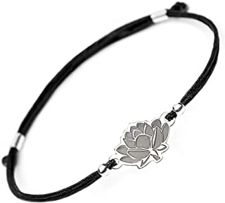 SOLOMIYA Lotus Lucky Yoga Bracelet - Love Black String Jewelry Bracelets for Women Men - 925 Sterling Silver Pendant - Reiki Healing Charm Wise and Prosperity Bangle