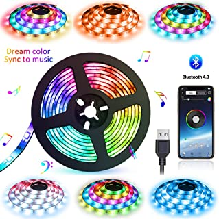 LED Strip Lights USB Powered Abtong Bluetooth LED Lights Strip APP Control Music Sync Color Chasing Strip Lights Waterproof LED Rope Lights 6.56FT Dream Color LED Lights for TV Party Home Decoration