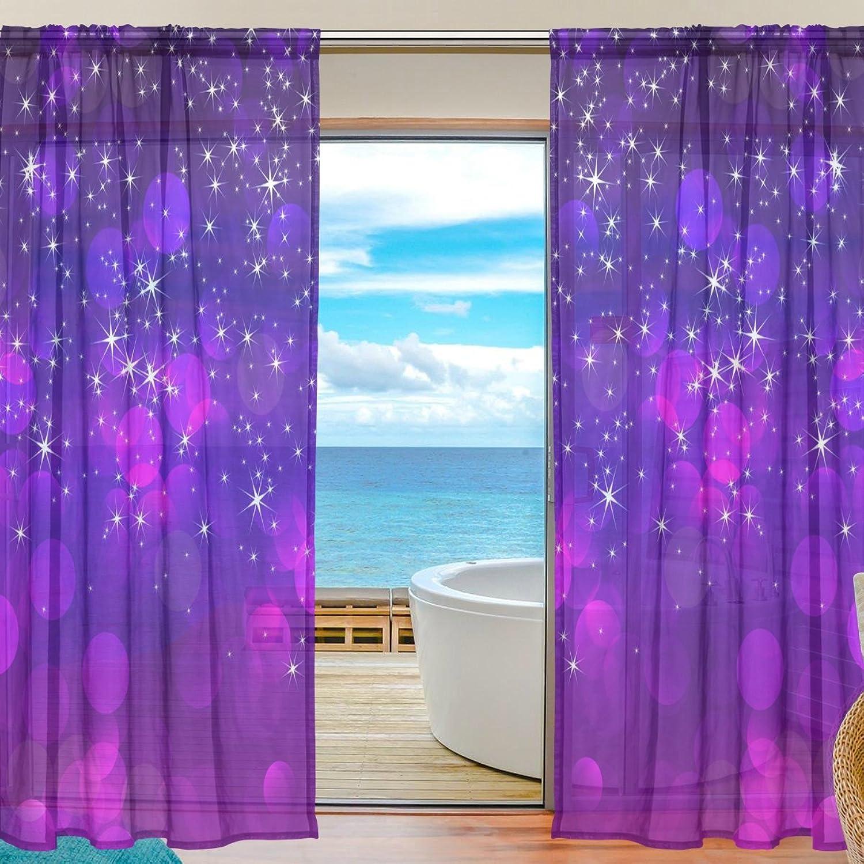 Vantaso Sheer Curtains 78 inch Long Galaxy Night Stars for Kids Girls Bedroom Living Room Window Decorative 2 Panels