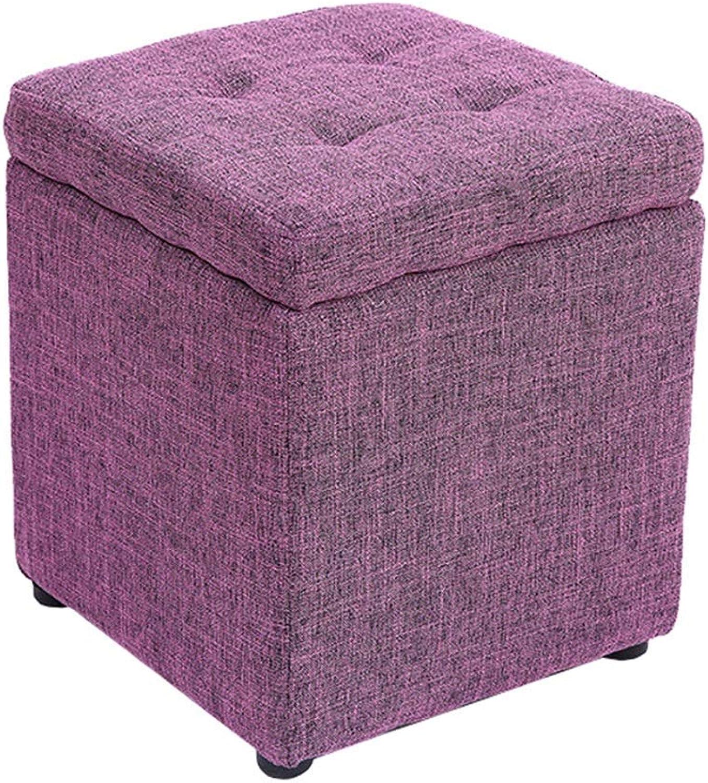 ChenDz Cute Stool Storage Stool Storage Stool can sit Adult Sofa Stool Home Fashion Creative Storage Box Artifact Change shoes Bench (color   Purple)