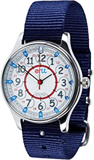 EasyRead Time Teacher WERW-RB-24-NB Red Blue 12/24 Hour Face Waterproof Watch, Navy Blue Strap