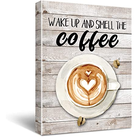 Amazon Com Kitchen Canvas Wall Art Coffee Bean Coffee Cup Coffee Grinder Canvas Pictures Large Modern Artwork Prints For Dining Room Home Decorations 12 X 12 X 4 Pieces Framed Ready To Hang