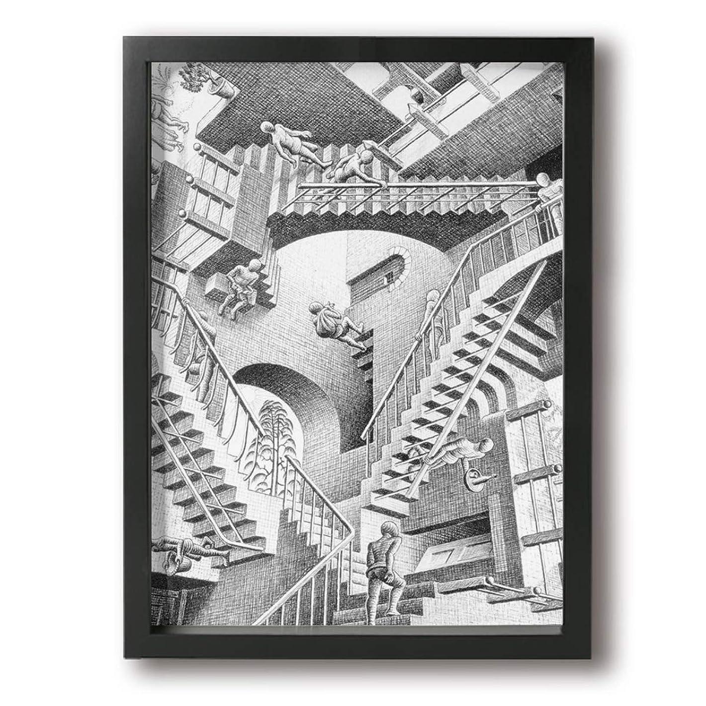 執着意見守銭奴エッシャー 絵画 現代の絵 装飾画 油絵 壁ポスター アートパネル 壁飾り インテリアアート 木製の枠 モダン 額縁付き 30*40cm