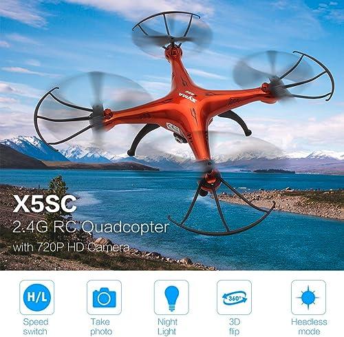 WOSOSYEYO Ursprüngliche SYMA X5SC 2.4G Drohne Smart RC Quadcopter Flugzeug mit 720P HD Kamera Headless Modus 3D Flips Geschwindigkeitsmodus (Orange-Rot)