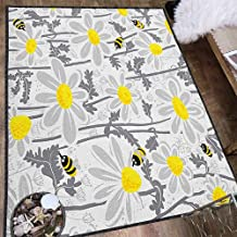 Grey Anti-Skid Area Rug,Daisy Flowers with Bees in Spring Time Honey Petals Floret Nature Purity Blooming for Hard Floors Yellow White 63