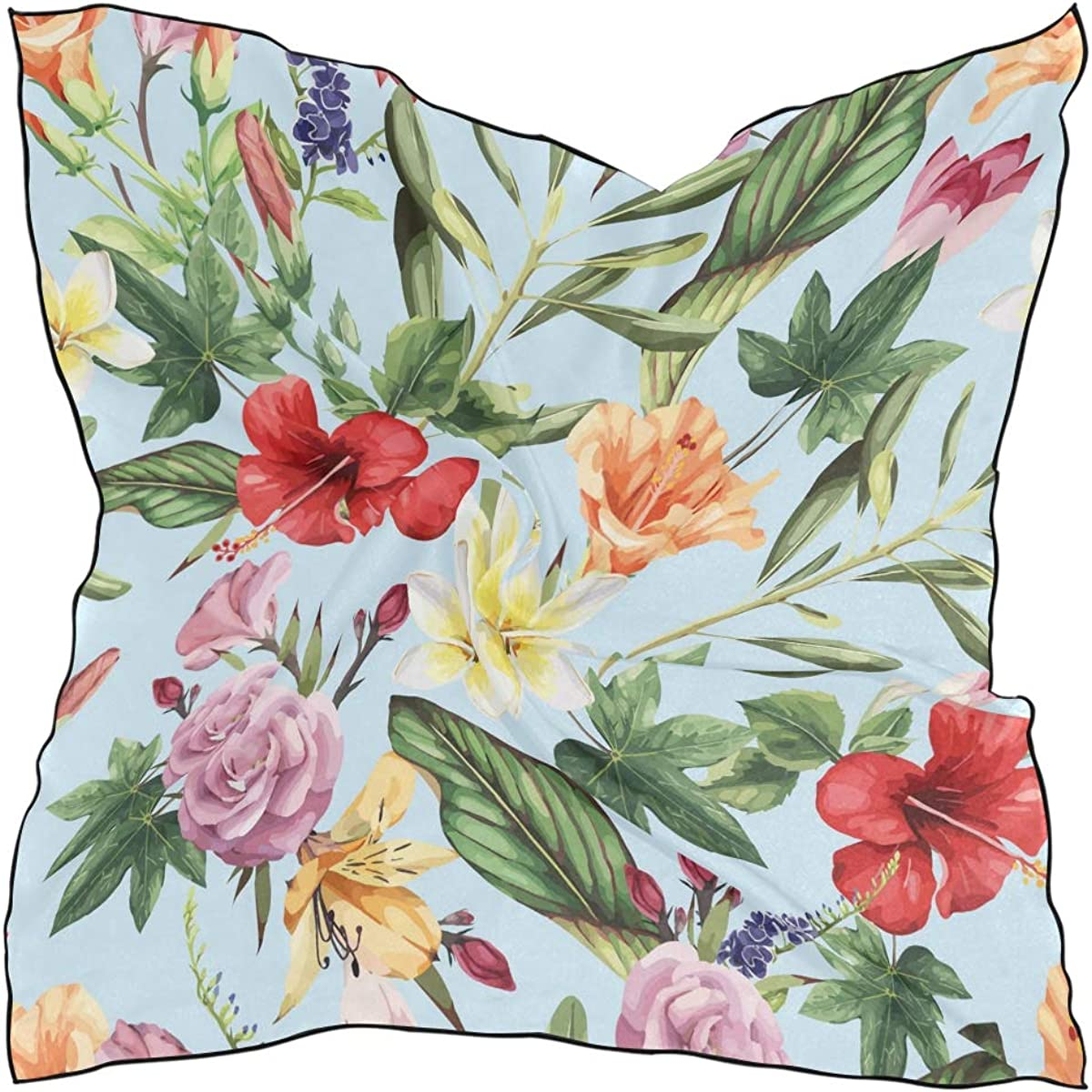 XLING Fashion Square Scarf Tropical Floral Flower Leaves Lightweight Sunscreen Scarves Muffler Hair Wrap Headscarf Neckerchief for Women Men