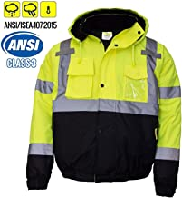 New York Hi-Viz Workwear WJ9012-3XL Men's ANSI Class 3 High Visibility Bomber Safety Jacket, Waterproof (3XL, Lime)