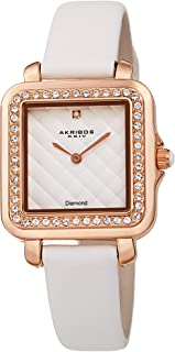 Akribos XXIV Women's Swarovski Crystal Square Watch - Embossed Argyle Dial, Genuine Diamond at 12 O'clock On Genuine Leather Strap - AK1106