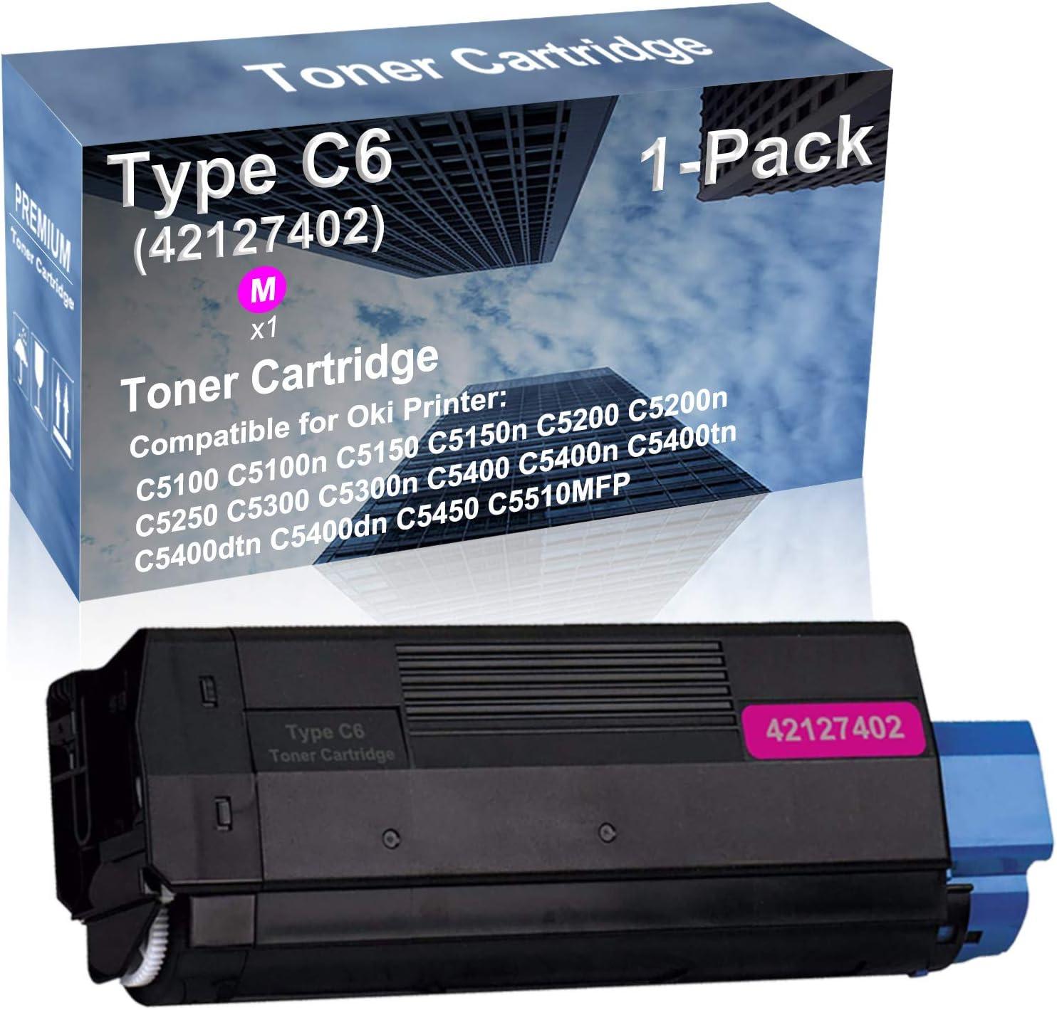 1-Pack (Magenta) Compatible High Yield Type C6 (42127402) Laser Printer Toner Cartridge Used for OKI C5400dtn C5400dn C5450 C5510MFP Printer