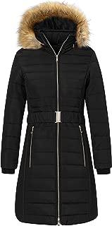 Wantdo Women's Winter Puffer Jacket Mid Length Warm Thicken Coat with Fur Hood