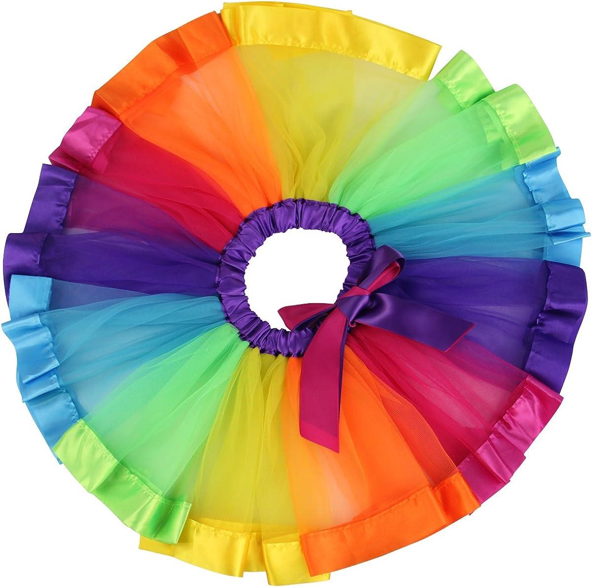 Jastore Girls Max 47% OFF Layered Rainbow Branded goods Tutu Skirt Tier Dance Ruffle Dress
