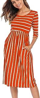 Women's 3 4 Sleeve Stripe Elastic Waist Casual Dress with Pocket