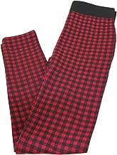 Charlie Paige Plaid Fleeced Lined Leggings - Red, Small/Medium